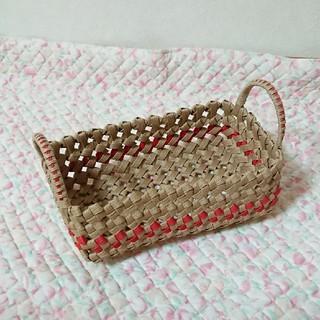 石畳編み*赤 バスケット(バスケット/かご)