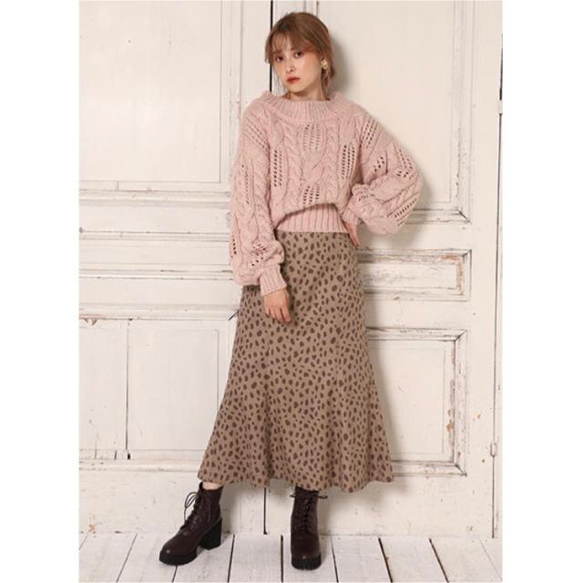 one after another NICE CLAUP(ワンアフターアナザーナイスクラップ)のナイスクラップ  ベルト付きNEWチューリップスカート モカダルメシアン レディースのスカート(ロングスカート)の商品写真