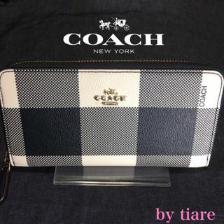 COACH - ■訳あり■新品コーチ 正規品 オフホワイト×ブラック チェック柄 長財布