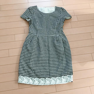 Debut de Fiore - デビュードフィオレ ギンガムチェックワンピース 裾刺繍