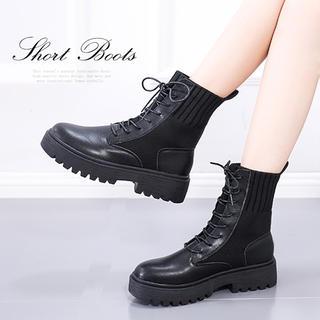 ♥ ショートブーツ 厚底 ワークブーツ レースアップ エンジニアブーツ(ブーツ)