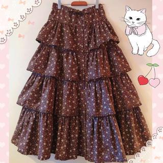 ピンクハウス(PINK HOUSE)のワンダフルワールド♡豪華♡小さなローズ柄の段々前開きロングスカート♡(ロングスカート)