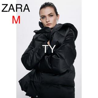 ザラ(ZARA)の完売品 ザラ M 撥水加工 ダウン コート ジャケット 黒 フード ファー ボア(ダウンコート)
