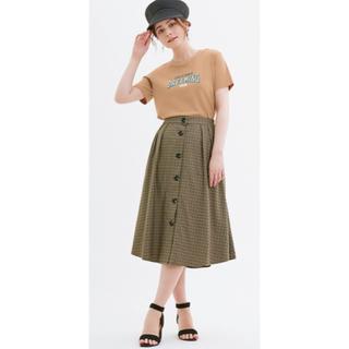 ジーユー(GU)の新品・タグ付き ガンクラブチェックフロントボタンスカート(ひざ丈スカート)