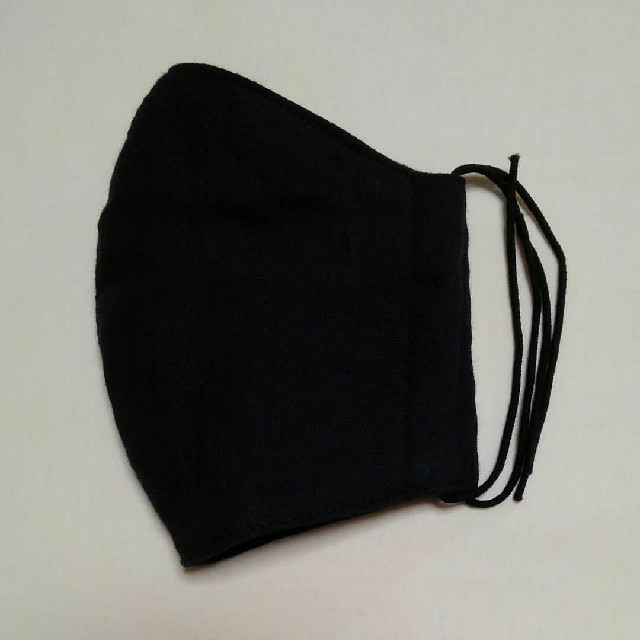 マスク ヘッドキープタイプ 、 ガーゼマスク両面ブラック ハンドメイドの通販