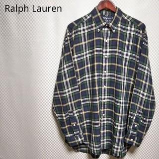 ラルフローレン(Ralph Lauren)のラルフローレン☆フランネルシャツ チェック柄 長袖 2XL ネイビー 90s(シャツ)