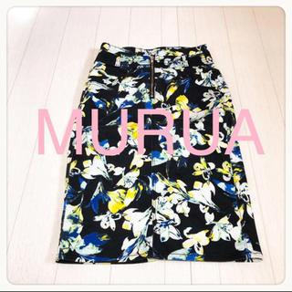 MURUA - ☘T2743☘MURUA 花柄 バックスリット ストレッチ スカート M
