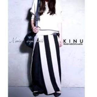 antiqua - アンティカ KINU ストライプ柄スカート見えカフェパンツ ワイドパンツ