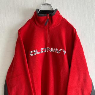 オールドネイビー(Old Navy)の00s OLD NAVY フリース ジャケット ハーフジップ レッド(スウェット)