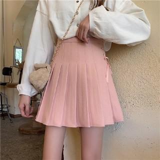 ★大人気 ピンク リボン フレア スカート Lサイズ Aライン レディース★(ミニスカート)