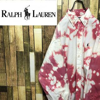 Ralph Lauren - 【激レア】ラルフローレン☆ブリーチ加工ワンポイント刺繍ビッグボタンダウンシャツ