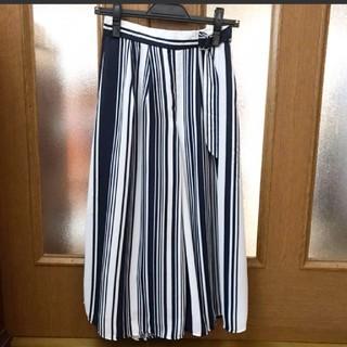 CECIL McBEE - セシルマクビー 紺色の縦縞 ガウチョパンツ 十分丈