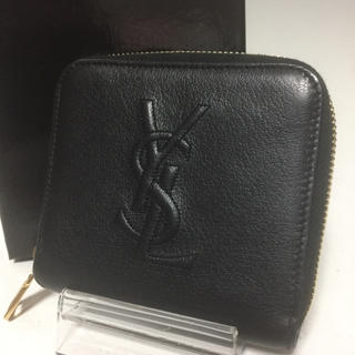 Saint Laurent - サンローランパリ 美品 YSL クロ 型押し 二つ折り財布 コンパクトウォレット