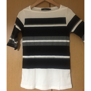 AZUL by moussy - 【AZUL by moussy】ランダムテレコボーダー5分プルオーバー トップス