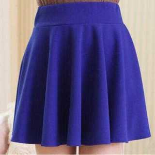 スカート ミニ フレア ウエスト ゴム ショート パンツ 付き シンプル ブルー(ミニスカート)
