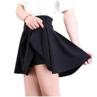 スカート ミニ フレア ウエスト ゴム ショート パンツ シンプル ブラック(ミニスカート)