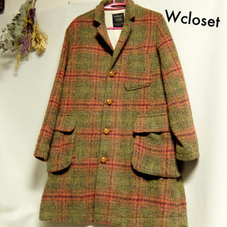ダブルクローゼット(w closet)のWcloset ◆ チェスターコート 美品 フリーサイズ チェック(チェスターコート)