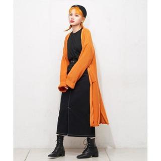 半額!【RASVOA】ポケット付きロングカーデ オレンジ(カーディガン)