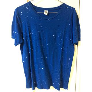 グラニフ(Design Tshirts Store graniph)の半袖Tシャツ メンズ グラニフ Mサイズ 男性 美品 青 ペイント 白(Tシャツ/カットソー(半袖/袖なし))