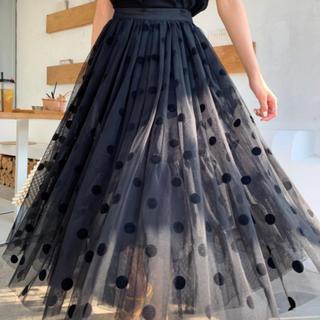birthdaybash オーガンジーレイヤードDOTスカート(ロングスカート)