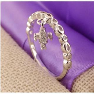 新品☆18号(大きいサイズ)小さな十字架クロス付きリング/指輪(リング(指輪))