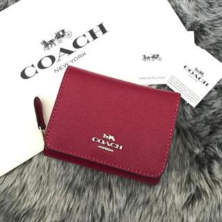 COACH - 新品☆ COACH(コーチ)ピンク ピンクレッド レザー 折り財布