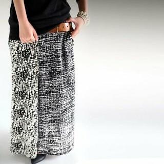アンティカ モードアート柄切り替え スカート見えワイドパンツ スカンツ