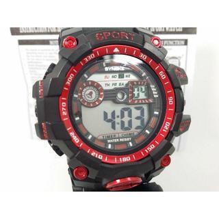 30m防水 デジタル時計 レッド 多機能