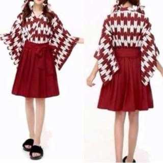 コスプレ 袴 スカート 和装 着物 仮装 ハロウィン パーティー 矢羽根 紅色