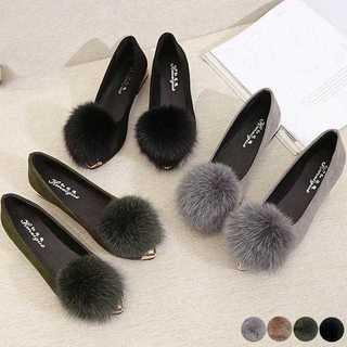 【新品】ファーパンプス レディース ローヒール ぺたんこ靴 美脚 履きやすい