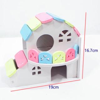 ハムスター 文鳥小動物用品 ハウス2階家おもちゃ 可愛い巣箱遊具玩具水洗いOK