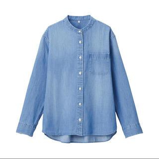 MUJI (無印良品) - インド綿デニムスタンドカラーシャツ