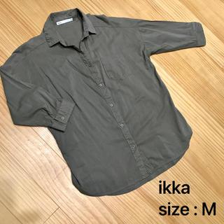 ikka - ikka  七分袖カーキシャツ
