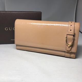 Gucci - GUCCI 二つ折り 長財布 エナメル  ベルト マイクロGG シマ
