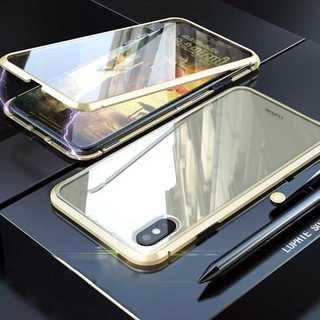 前後 ガラス iPhonexs/x ケース ゴールド アルミ バンパー(iPhoneケース)
