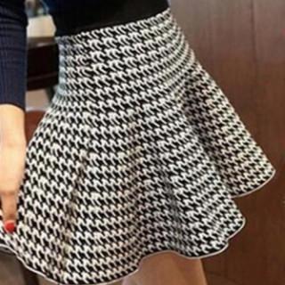 千鳥柄 ブルームスカート シンプル フレアミニスカート Aライン 美シルエット(ミニスカート)