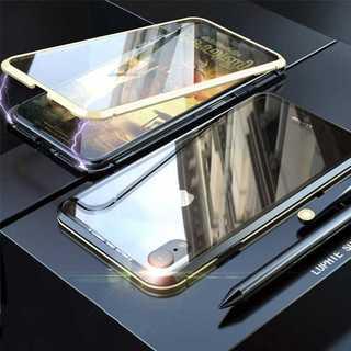 背面 前面 強化ガラス iPhonexr ケース ゴールド×ブラック(iPhoneケース)