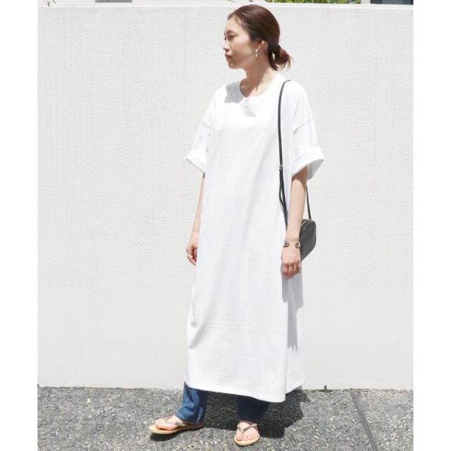 IENA SLOBE(イエナスローブ)のイエナ スローブ    ワンピース Tシャツ ロング 白 レディースのワンピース(ロングワンピース/マキシワンピース)の商品写真