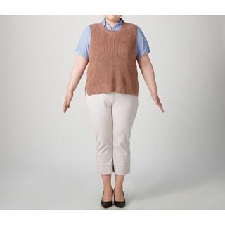 大きいサイズ・重ね着に♪ブラウン系ニットベスト6L/大きめ作りです☆(ベスト/ジレ)