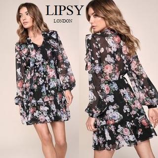 リプシー(Lipsy)のLipsy フラワープリント フリルミニドレス(ミニドレス)