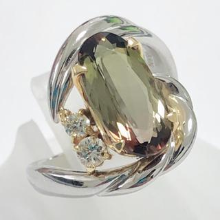 レアストーン アンダリューサイト リング ダイヤモンド 指輪 k18 pt900(リング(指輪))