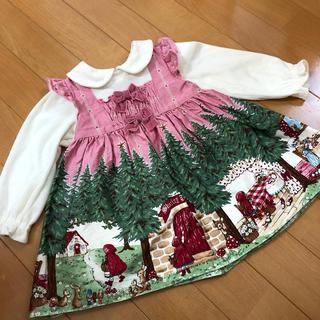 Shirley Temple - 美品 今期 シャーリーテンプル 赤ずきんワンピース 80