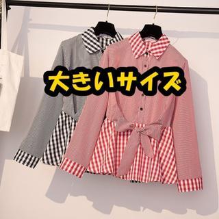 【即購入OK】大きいサイズ ギンガムチェック ペプラムシャツ (シャツ/ブラウス(長袖/七分))