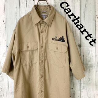 カーハート(carhartt)の【レア】カーハート carhartt ベージュ 刺しゅう 半袖 ワークシャツ(シャツ)