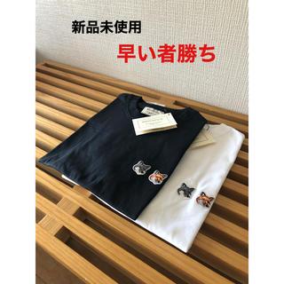 MAISON KITSUNE' - メゾンキツネ ダブルFOXパッチTシャツ ホワイト ブラック XS S M