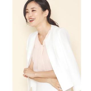 アナイ(ANAYI)のアナイ  美品  バスケットクルージャケット 36  ホワイト  ジャケット(ノーカラージャケット)