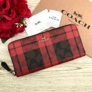 COACH - 《新品》COACH レッド ブラック チェック シグネチャー レザー 長財布