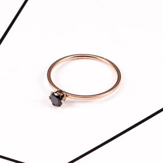 11号316Lステンレス /CZダイヤブラックストーンローズゴールドリング(リング(指輪))