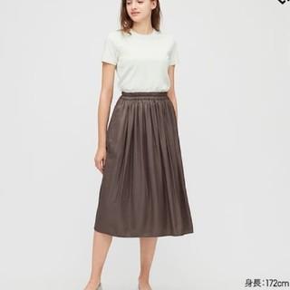 UNIQLO - ユニクロ【丈短め】ドレープギャザーロングスカート