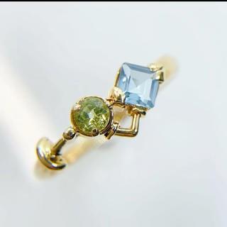 美品 リング 指輪 マルチカラー K18 ブルートパーズ ペリドット(リング(指輪))